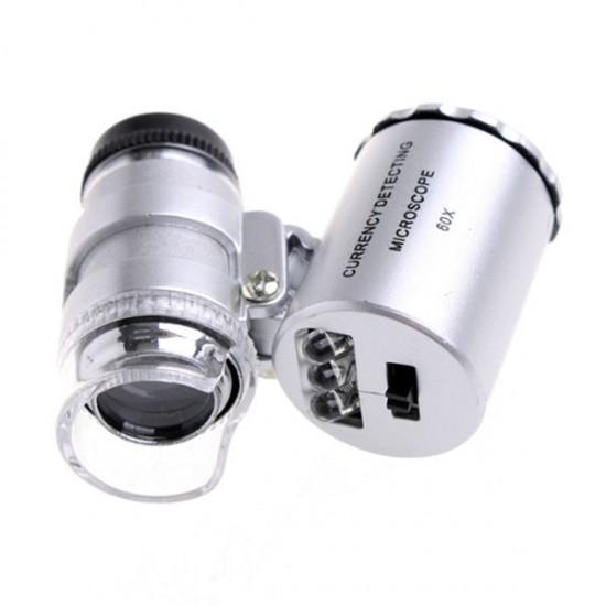 Microscopio Led 60x + ultravioleta CON PINZA